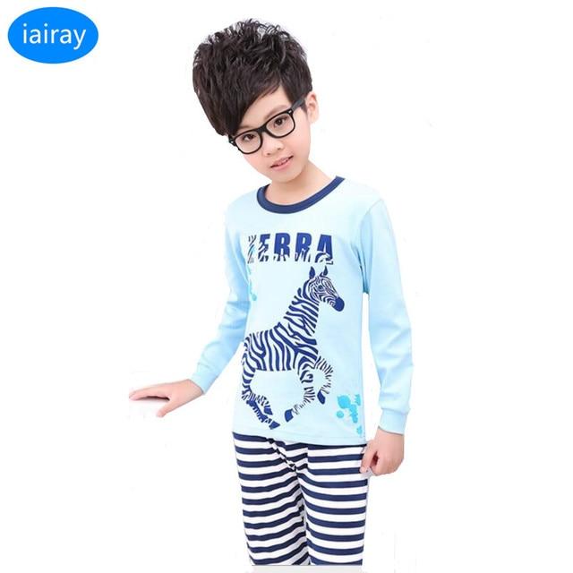 a312f811c iAiRAY children pajamas for boys blue cotton pyjamas kids sleepwear ...