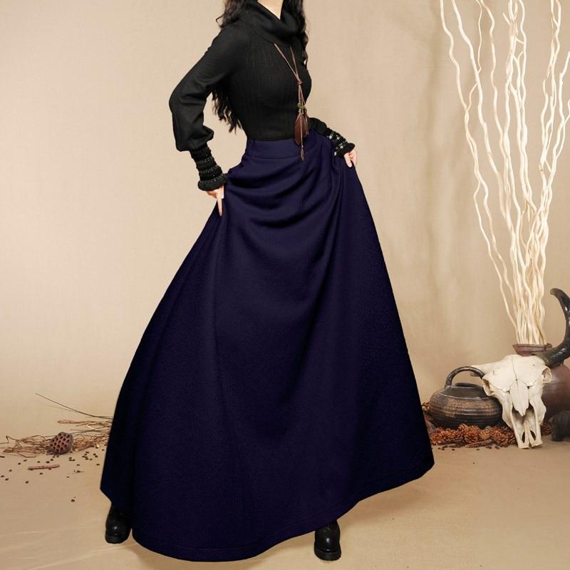 [ Aporia.<font><b>King</b></font> - BOSHOW ] Spring Winter New Original Design Women Chromophous Woolen Skirt Sz S <font><b>M</b></font> L XL 90cm full length