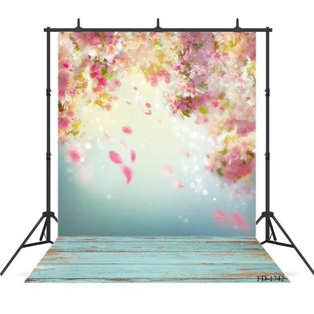 פרח טפט צילום רקע רצפת עץ רקע עבור תמונה לירות אבזרי ילדי תינוק בד תפאורות צילום סטודיו