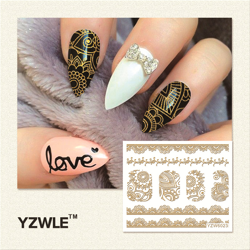 WUF 1 Sheet Hot Gold 3D Nail Art Stickers DIY Nail Decorations Decals Foils Wraps Manicure Styling Tools (YZW-6023) yzwle 1 sheet new nail art full cover blue flower stickers decals water transfer wraps decorations manicure care tools