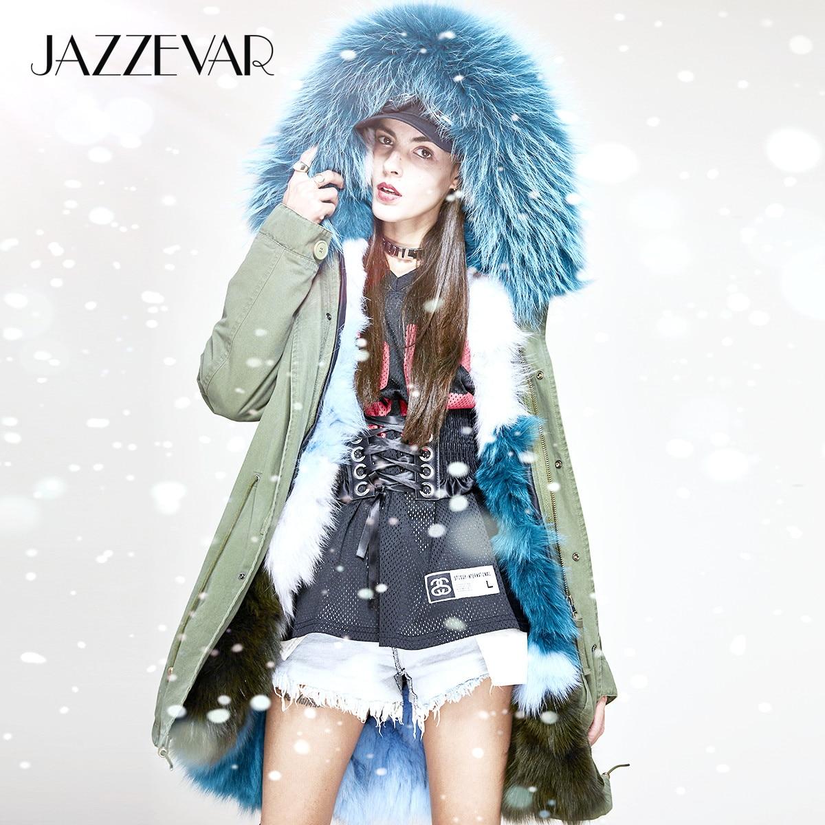 JAZZEVAR 2019 New Women Luxurious Real Fox fur lined Military Parka MIDI Large Raccoon fur Hooded Coat Outwear Winter Jacket