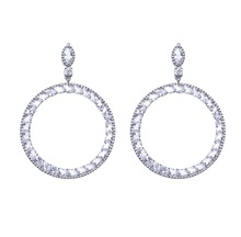 New Arrival Hoop Earrings For Women White Zircon Rhinestones Unique Design Brand Round Hoop Earrings Fashion Wedding Jewelry glitter design hoop earrings