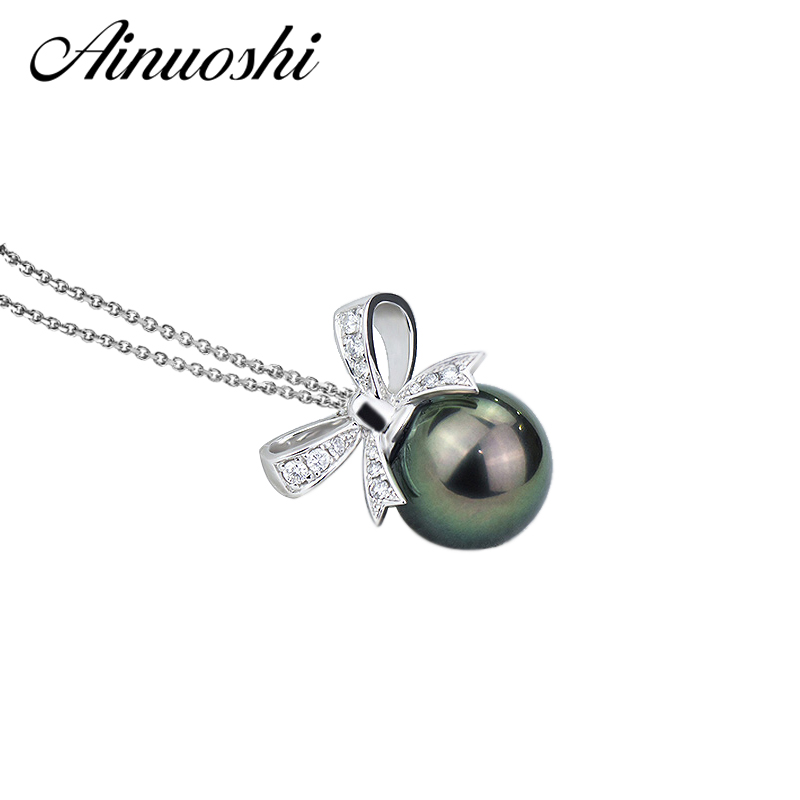 AINUOSHI 925 Sterling Silver Bow Tie Shaped Necklace Pendants Black Cultured Pearl Tahiti 10mm Round Pearl Necklace Pendants lit decorative cotton bow tie necklace for pet dog white black size m