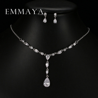 Trendy White Water Drop Cubic Zirconia Wedding Jewelry Sets Luxury Statement Necklace Earrings Set Dinner Dress