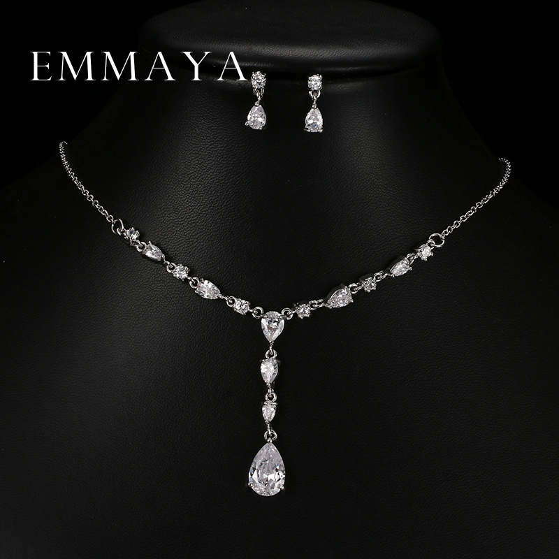 Emmaya Trendy Putih Water Drop Cubic Zirconia Pernikahan Jewelry Set Pernyataan Mewah Kalung Anting Set Gaun Aksesoris