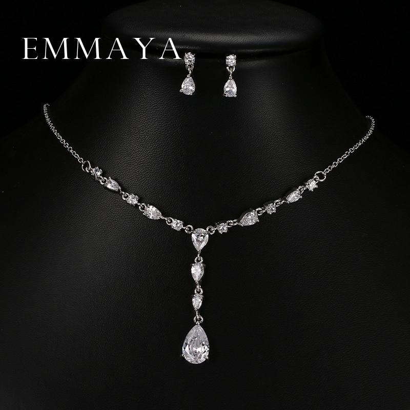 Emmaya Trendy White Water Drop Cubic Zirconia Wedding Smykker Sæt Luksus erklæring halskæde øreringe sæt kjole tilbehør