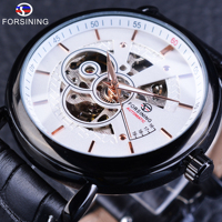Forsining Casual Cruise Series Genuine Leather Military Skeleton Automatic Wrist Watch Top Brand Luxury Skeleton Sport