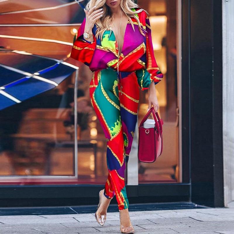 Colorblock Print Plunge Casual Jumpsuit For Women 2019 Autumn 2019 Batwing Sleeve Rompers Womens Jumpsuit Combinaison Femme