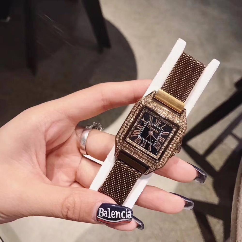 High Quality Austrian Crystal Watch Luxury Women Dress watch Fashion Lady Quartz watches Female Steel Diamond