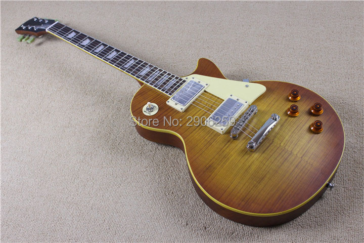 Custom Shop Lp standard guitare électrique mat tobacco sunburst couleur LP guitare 59 version rayé placage d'érable Abr-1 pont