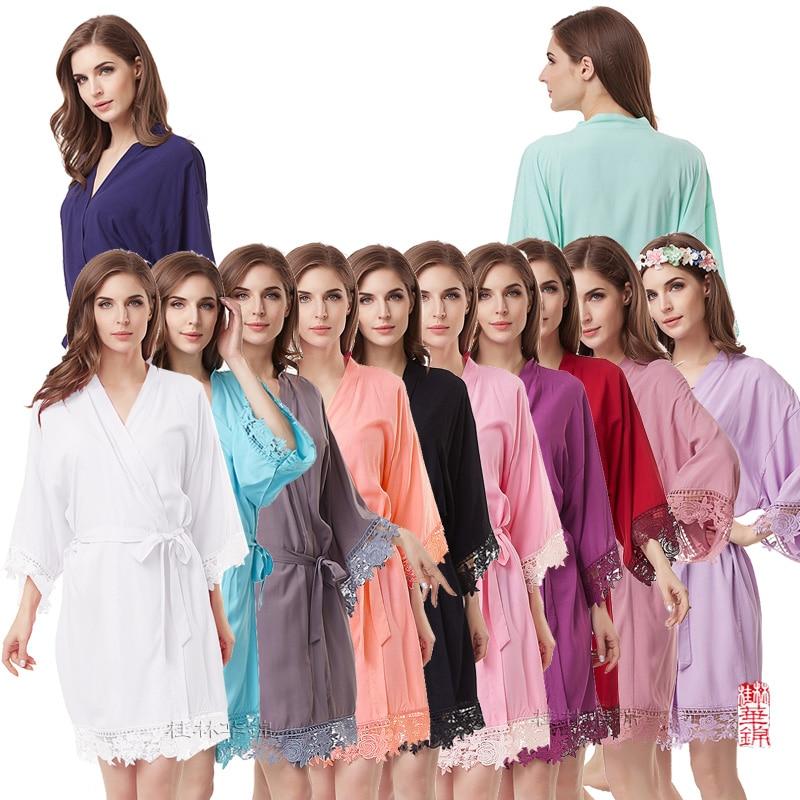Cotton  Kimono Robe Lace Robe Bridesmaid Robes Bridal Party Robes Women Pajamas Sleepwear A300A