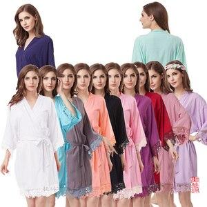 Image 2 - Cotton Robe  Lace Robe bride robe Kimono Bridesmaid Robes Bridal Party Robe  women pajamas sleepwear A300A