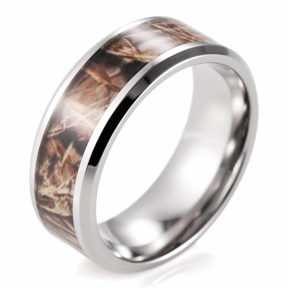 8mm Titanium Realtree Max4 Camo Ring Wedding Band Men Rings Anel Anillos  Outdoor Ring