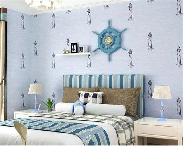 Beibehang Kids Room Wallpaper Hand Painted Mediterranean Style ...