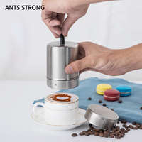 ANTS STRONG various shapes fancy coffee duster/stainless steel coffee printing mold pull flower powder cylinder