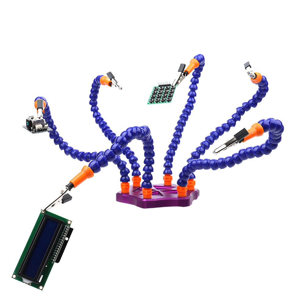 Multi Soldering Repair Station Solder Assembly helping Hands Tools with 6pcs Flexible Arms for PCB Board welding tools new multi soldering helping tool third hand with led light flexible arms for pcb board soldering assembly repair station