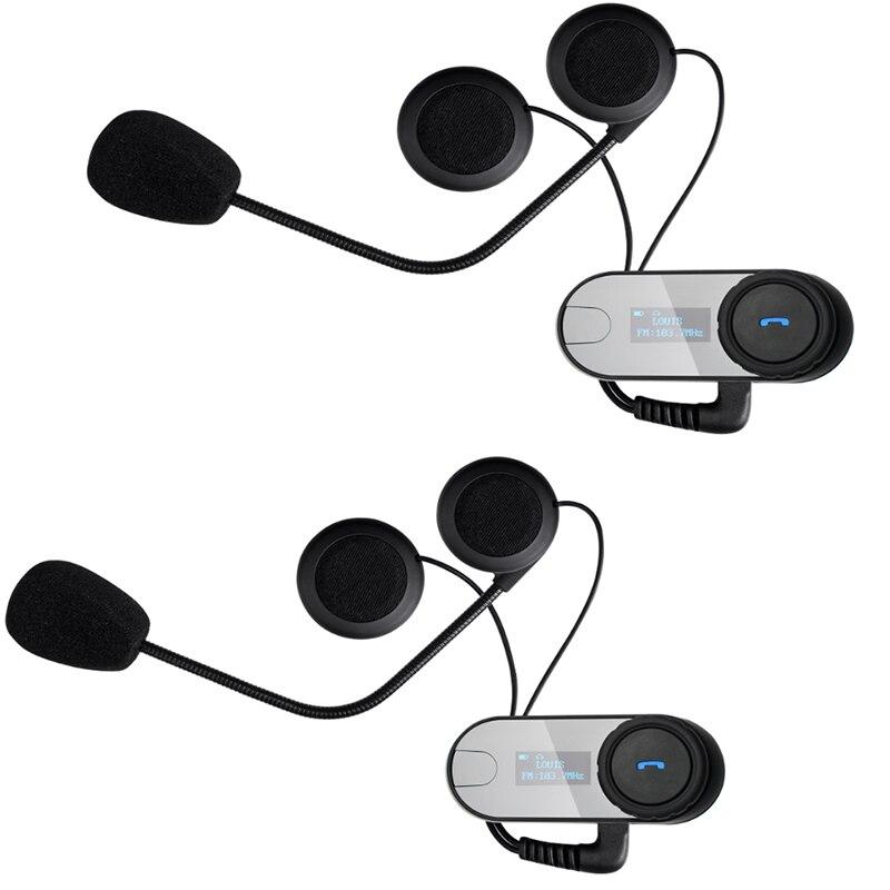 2pcs FreedConn TCOM-SC Helmet Headset Bluetooth Motorcycle Helmet Intercom Moto BT Interphone Headset 800m FM radio LCD Screen