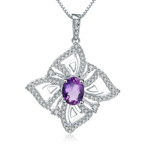 Image 5 - GEMS BALLET 1.30Ct Oval Natural Amethyst Gemstone Butterfly Pendant Necklace For Women 925 Sterling Silver Fine Jewelry