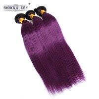 Модные королевские волосы малазийские прямые волосы 3 пучки Омбре наращивание волос 10 30 дюймов # 1b/фиолетовый цвет натуральные волосы пучки