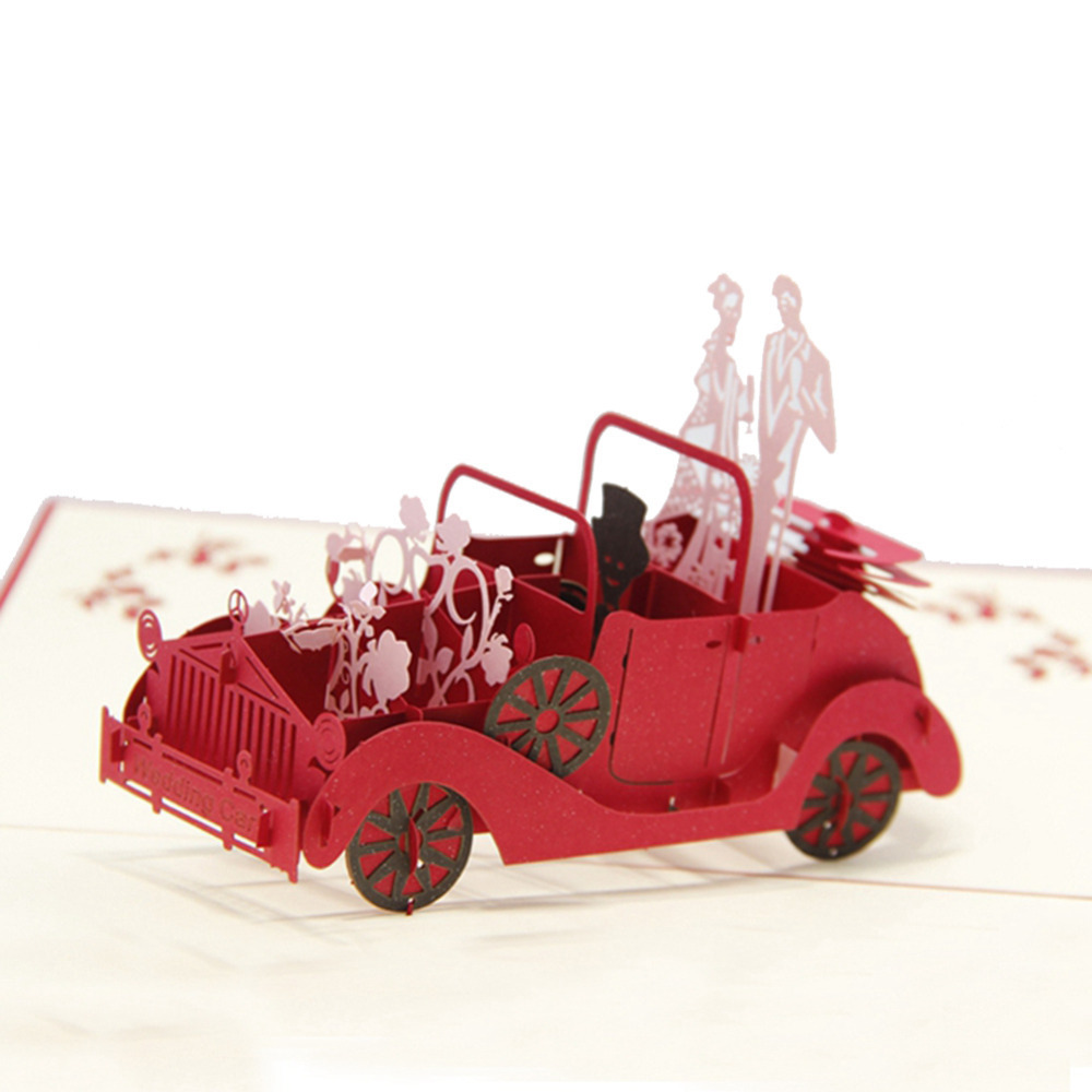 Red 3D Wedding Carriage With Lovers Personalized Handmade Greeting Cards POP UP 10pcs Free Shipping