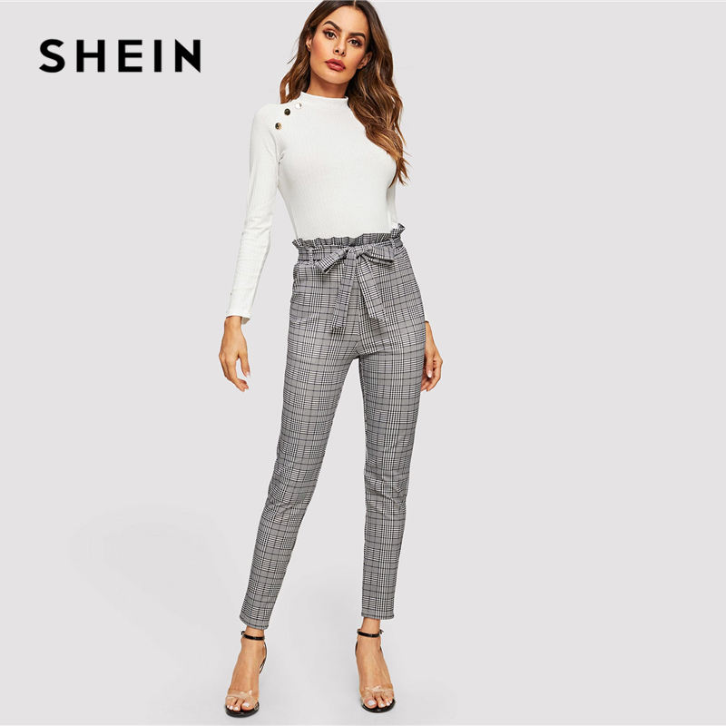 Shein Grey Color Mujeres Lápiz Pantalones A Oficina Paperbag Ropa Cinturón Cintura Casual As Alta Cuadros Con Dama Las Picture De Asos Primavera qrw4qOxd