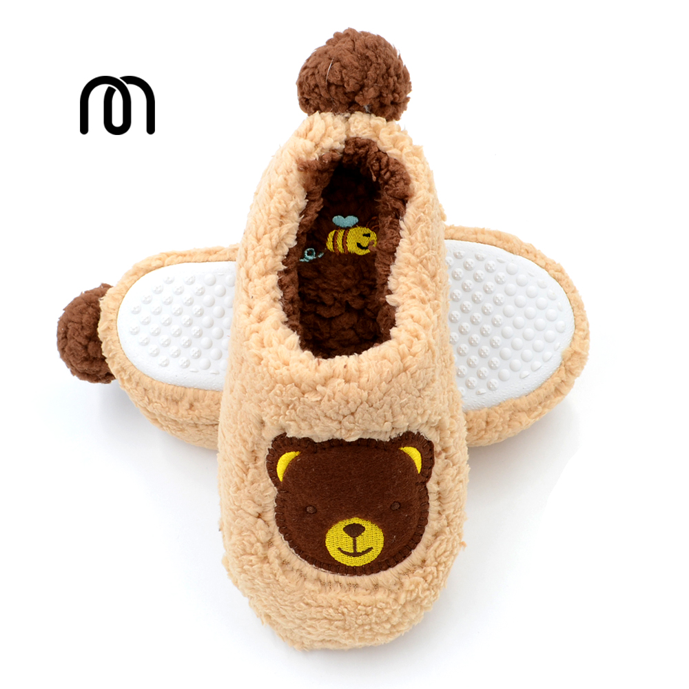 Millffy home coral velvet teddy bear slippers candy colored soft slipper rubber sole shoes home kids slippers soft house coral plush slippers shoes white