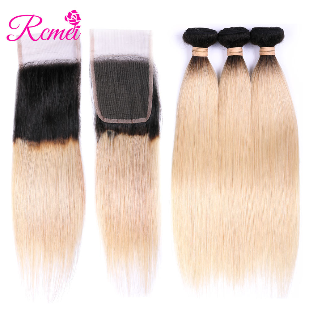 Rcmei T1B 613 Ombre Blonde Hair Brazilian Straight Hair Bundles With Closure 613Color Hair Weave 3 Bundles with Closure RemyHair
