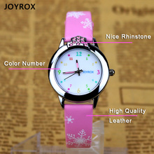 JOYROX 6 Colors Children Wrist Watch 2018 New Cartoon Quartz Child Kids Watches For Girls High Quality Leather Strap Boys Clock