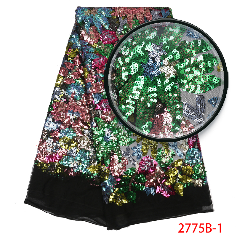 2019 French Tulle Sequin Lace Fabric,Nigerian Lace Fabrics High Quality,African Lace Fabric With Colorful Sequins KS2775B-1