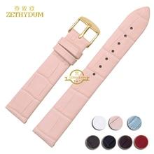 Véritable bracelet en cuir Mince montre bracelet femmes mode bracelet multicolore montres band 12 14 16 18 20mm boucle ardillon