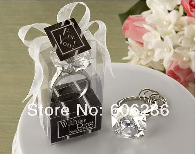 Free shipping 200pcs/lot Wholesale various color diamond ring crystal keychain wedding and party supplies