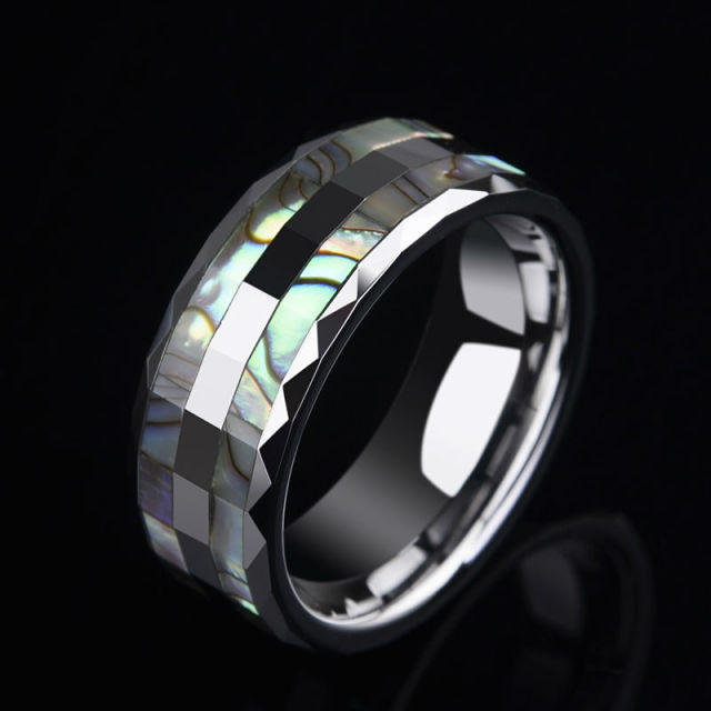 Colorful Mother of Pearl Inlay Tungsten Rings