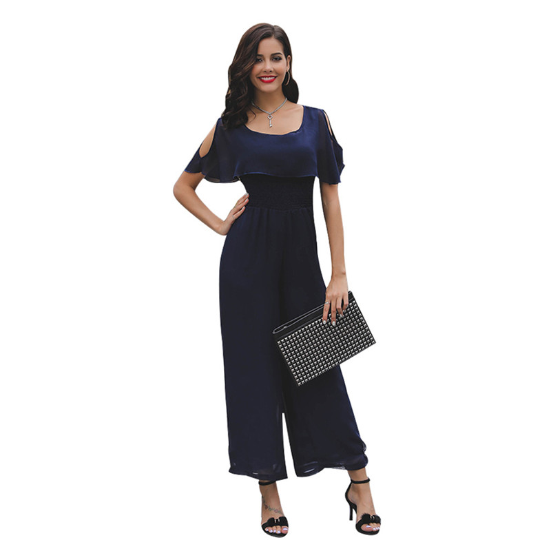 Vertical Striped Summer Jumpsuit Romper Sexy Women Rompers Wide Leg Loose Casual Overalls 1