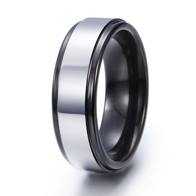 7mm Black And White Two Tone Tungsten Carbide Wedding Band Mens