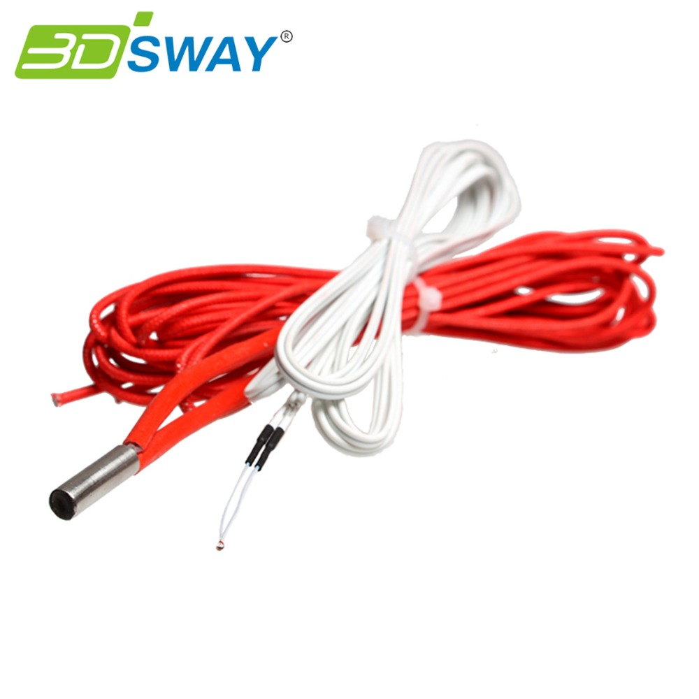 3DSWAY 3D Printer Heater NTC 100K thermistor heating pipe kit with 2M wire for 3D printer Extruder hot bed