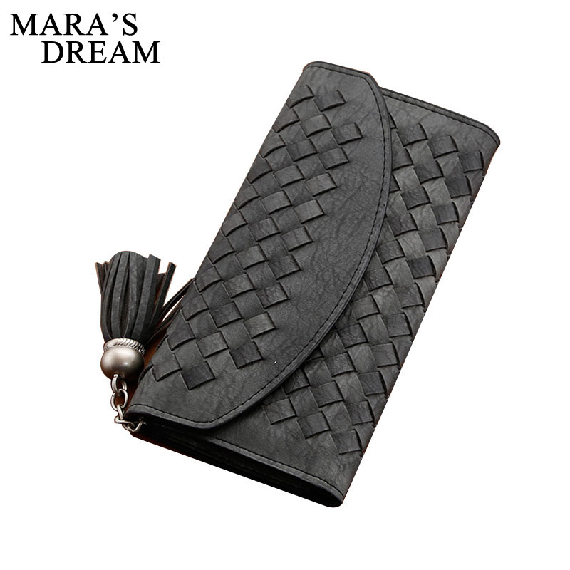Mara's Dream Fashion Knitting Women Purse Tassel Women Wallet Long Hasp Female Money Bag Lady Wallet Clutch New Carteira Femme yuanyu free shipping 2017 hot new real crocodile skin female bag women purse fashion women wallet women clutches women purse