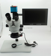 Cheapest prices Trinocular Stereo Microscope 3.5X-90X Continuous Zoom Magnification Video Camera VGA USB AV Out Stent LED Light 10-inch Monitor