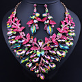 FARLENA Jewelry 2017 KC Gold Plated Green Crystal Statement Necklace and Earrings for women Wedding African Bridal Jewelry sets