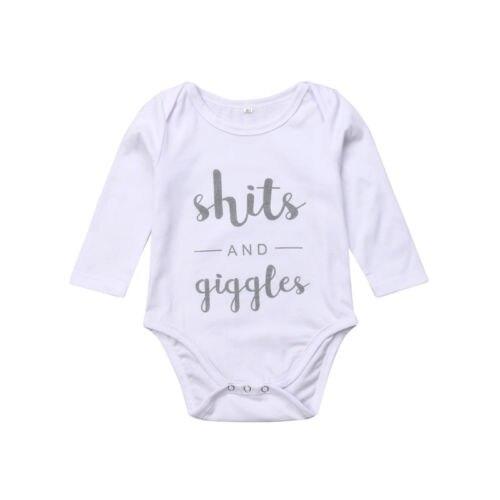 100% Wahr Neugeborenen Kinder Kleinkind Baby Jungen Mädchen Lustige Lange Hülse Brief Drucken Body Outfits Herbst Junge Mädchen Kleidung Baumwolle 0- 18 Mt Nachfrage üBer Dem Angebot
