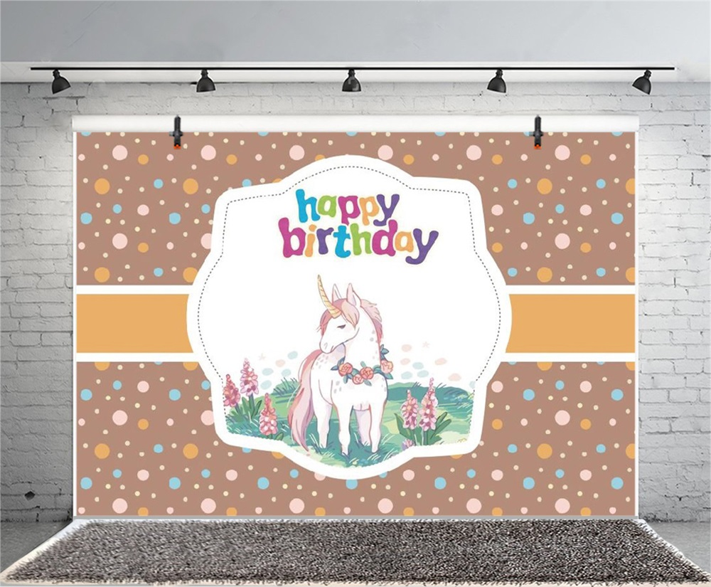 Laeacco Cartoon Happy Birthday Unicorn Dot Decor Baby Photography Backgrounds Customized Photographic Backdrops For Photo Studio in Background from Consumer Electronics