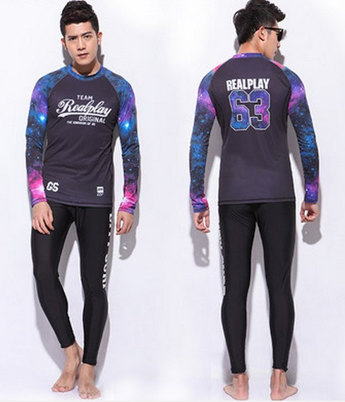 Mens long sleeve wetsuit shirt and long wetsuit pants set surfing suit male slim quick-drying two-piece swimwear rash guardMens long sleeve wetsuit shirt and long wetsuit pants set surfing suit male slim quick-drying two-piece swimwear rash guard