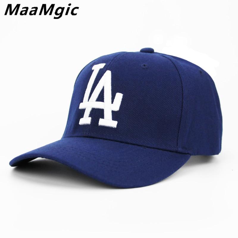 2018 New letter LA Baseball Caps Dodgers Embroidery Hip Hop bone Snapback Hats for Men Women Adjustable Gorras Casquette Unisex