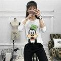 Funny cartoon animal carácter camiseta de impresión mujeres de la camiseta de algodón la tapa de la camiseta de manga larga mujeres camiseta floja homme tumblr CG10014
