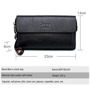 Image 2 - Jeep Buluo Beroemde Merk Heren Handtas Dag Koppelingen Tassen Luxe Voor Telefoon En Pen Hoge Kwaliteit Gemorst Lederen Portefeuilles hand Tas