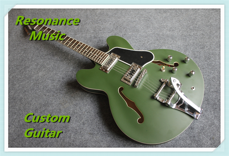 High Quality Matte Finish Custom ES Electric Guitars With Bigsby For Sale high quality flag custom finish left handed es electric guitars china hollow body