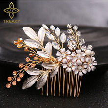 TREAZY Handmade Floral Wedding Hair Comb Sparkling Gold Color Crystal Enamel Flower Bridal Tiaras Top Jewelry Hair Accessories