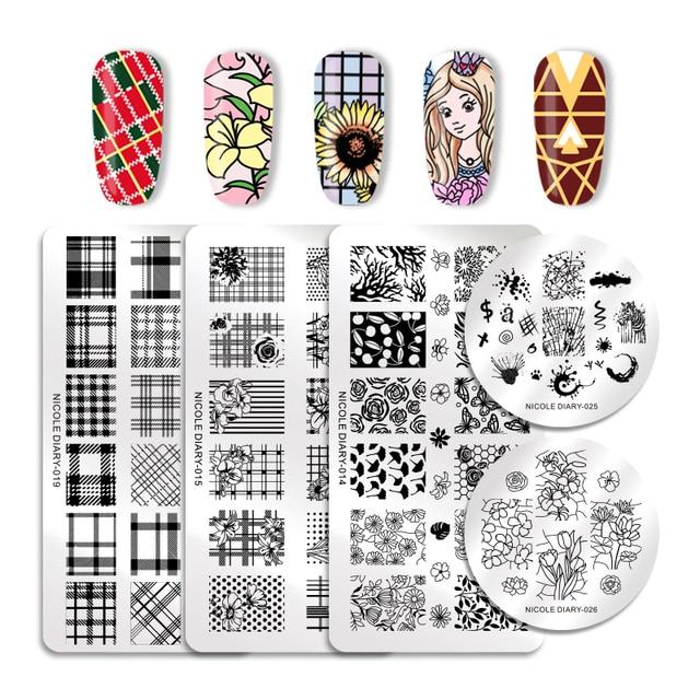 Nicole Diary штамповочные пластины для ногтей прямоугольные Круглые Цветочные сетки клетчатые геометрические изображения Шаблон для печати шаблон для ногтей для лака гель