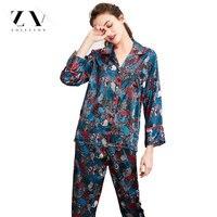 Satin Sleepwear 2 Piece Set Silk Pyjamas Sexy Lingerie Nightgown Women Pajamas Long Sleeve Female Nighties Nightwear
