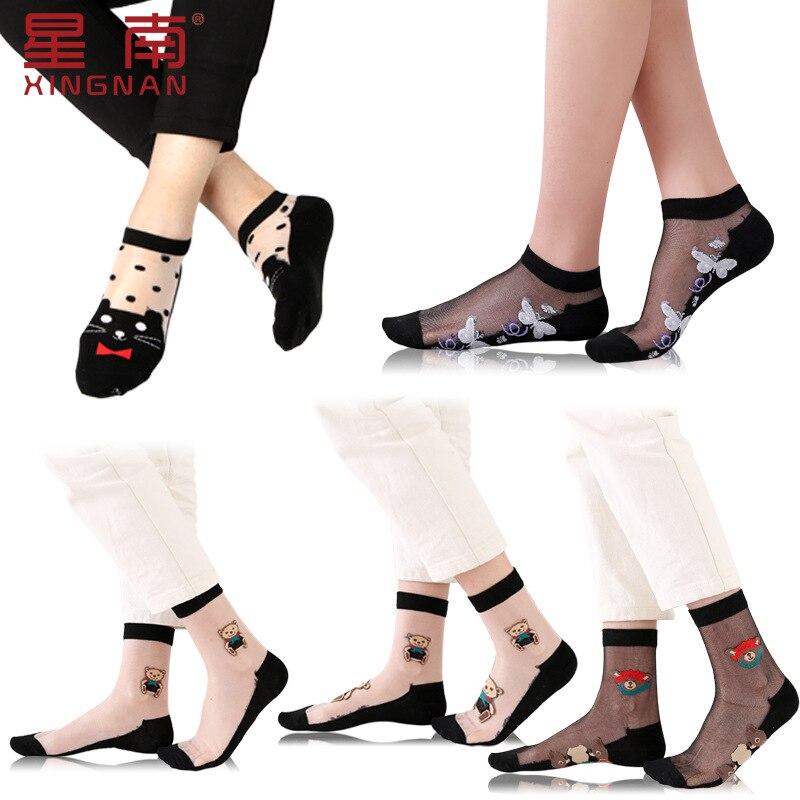 5Pair/Lot Cartoon Cute Bear Cut socks Spring Summer Autumn card women crystal silk plus cotton bottom