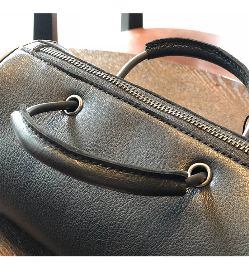 PNDME black genuine leather cylinder ladies shoulder bag cowhide leather simple handbag crossbody bags for women 39 s fashion tote in Shoulder Bags from Luggage amp Bags